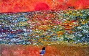 海に夕日 - 久保田 俊